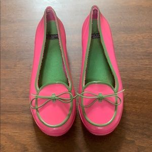 Kate Spade pink and green rubber slipons